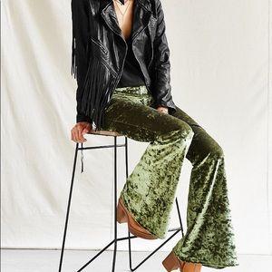 Urban Outfitters Green Velvet Flares